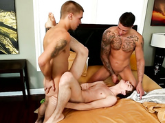 Three cute and sexy gay friends are pleasuring threesome fuck