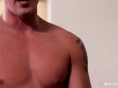 Tight muscled handsome twink sucks dick and gets fucked hard