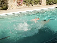 Strong young gay friends are pleasuring hot fuck by the pool