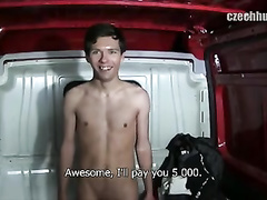 Teen sweetie twink got fucked in the van