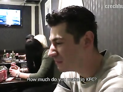 Beauty guy pleases stranger with handjob in bathroom