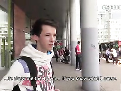 Beautiful teen dude got tricked by stranger with camera