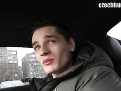 Sexy handsome guy gets picked up and seduced for fuck by gay driver