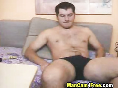 Attractive strong twink is hotly exciting and wanking off his dick