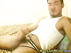 Asian twink with sexy beard is hotly masturbating dick