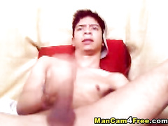 Teen gay is hotly moaning and excitingly jerking off