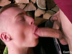 Boy kissing partner's lips and cock
