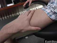 Lustful gay dude spreads legs and gets stroked