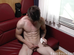 Young gay self shooting his hot nude body
