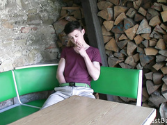 Kinky gay guy masturbating in the café