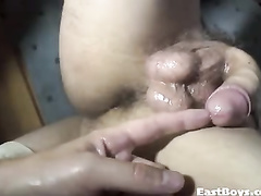 Gay talked into hot outdoor masturbation
