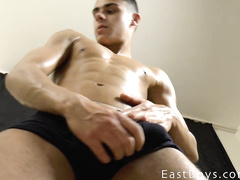 Young boy shows his great masturbation skills