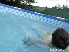 Young couple enjoys masturbation in the pool