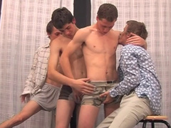 A group of horny gay guys blowing each other