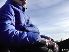 Lonely amateur boy outdoor masturbation