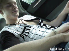 Blonde guy is on the peak of gay orgasm