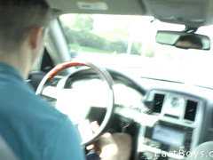 Guy stops to masturbate his passenger's cock