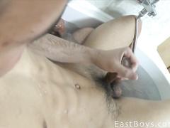 Latin boy shoots a portion of sticky semen