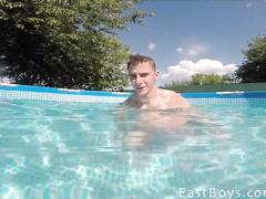 Big cock gay masturbation in the pool